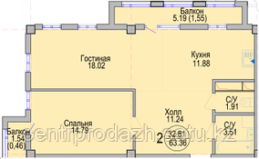 2 комнатная квартира в ЖК Алтын Отау 63.36 м²