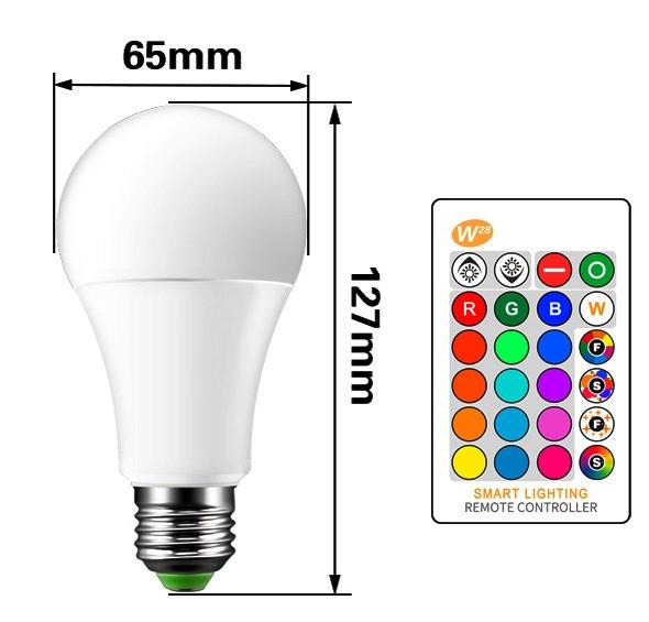 Светодиодная цветная RGBW лампа 10W с пультом управления