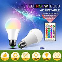 Светодиодная цветная RGBW лампа 10W E27 с пультом, фото 1