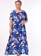 Летнее платье, хлопок, синий, 52-58