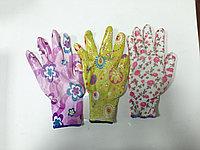 Прорезиненые перчатки цветочек, фото 1