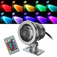 Светодиодный водонепроницаемый цветной прожектор RGB с пультом 220V, фото 1
