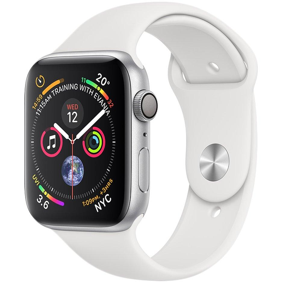 Apple Watch Series 4 44mm Silver Aluminium Case with White Band