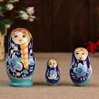 Матрешка ' Душа России',3 кукольная, синий фон, 10 см