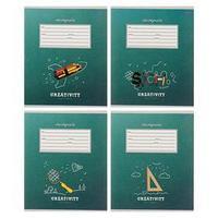 Тетрадь 12 листов в клетку 'Классика и креатив-2', обложка картон хром-эрзац, блок офсет, МИКС (комплект из 20 шт.)