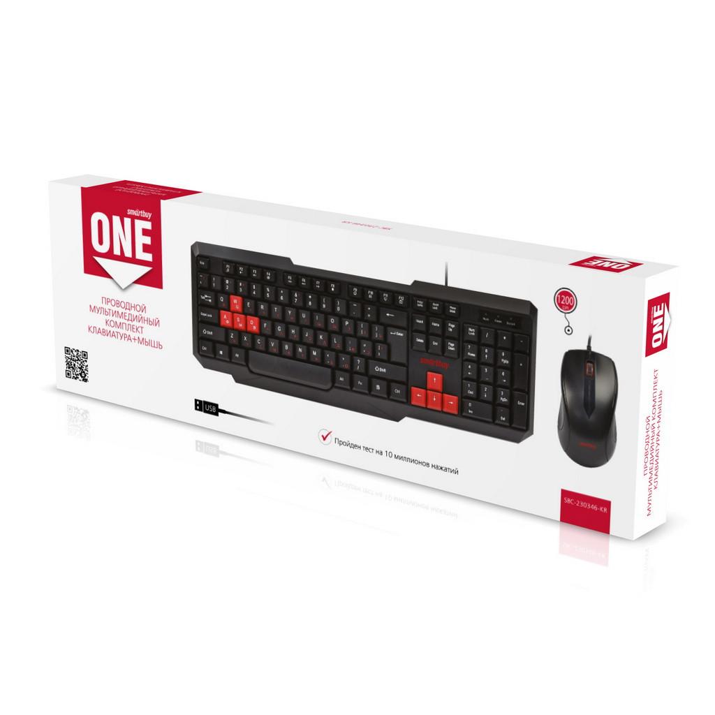 Проводной мультимедийный комплект клавиатура+мышь Smartbuy ONE SBC-230346-KR