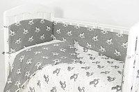 Комплект белья в кроватку Фантазия 6 предметов лошадки серый