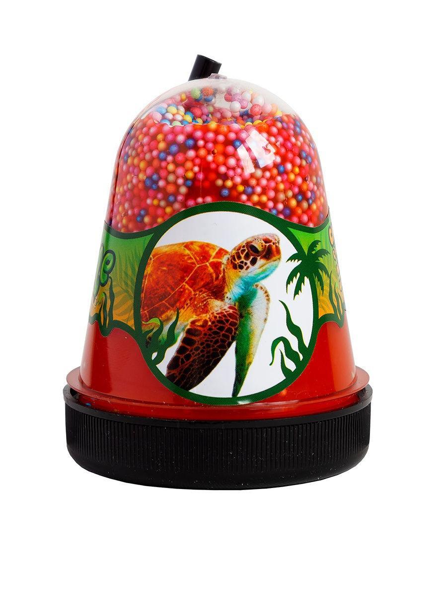 Жвачка для рук Jungle Slime Слайм Черепаха с разноцветными пенопластовыми шариками, 130 гр