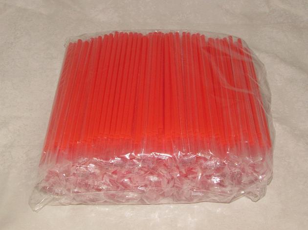 Трубочки д/коктейля прямые в инд. упаковке, d 8мм, 200мм, красные, ПП, 500 шт, фото 2