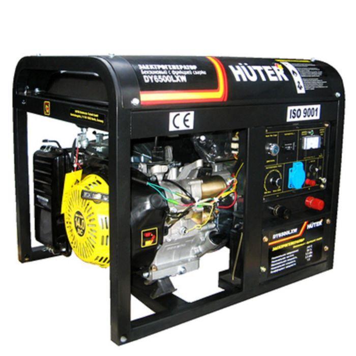 Электрогенератор Huter DY6500LXW, с функцией сварки, с колесами