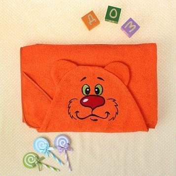 Полотенце-накидка махровое мишка, 75×125 см, оранж, Хл, 300 г/м²