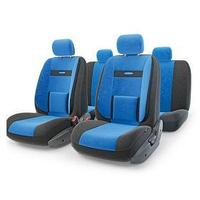 Авточехлы универcальные AUTOPROFI COMFORT, COM-1105 BK/BL (M), велюр, набор из 11 предметов, цвет чёрный/синий