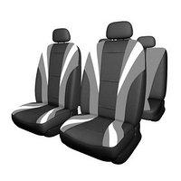 Чехлы сиденья Skyway Drive-3, экокожа, 11 предметов, черно-серый