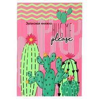 Записная книжка А6, 64 листа 'Яркие кактусы', твёрдая обложка, тиснение лён, глянцевая ламинация (комплект из