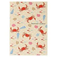 Записная книжка А6, 48 листов 'Пляжный узор', твёрдая обложка, глянцевая ламинация, тиснение лён (комплект из