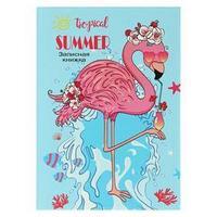 Записная книжка А7, 48 листов 'Фламинго с коктейлем', твёрдая обложка, глянцевая ламинация, тиснение лён