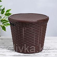 Корзина для белья с крышкой Виолет «Ротанг», 15 л, 32×32×27 см, цвет коричневый
