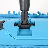 Швабра плоская Доляна, телескопическая стальная ручка 71-119 см, насадка из микрофибры 38×10 см цвет МИКС, фото 4