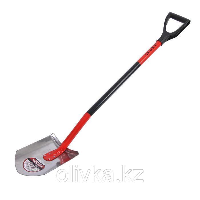 Лопата штыковая, острая, нержавеющая сталь, металлический черенок, с ручкой