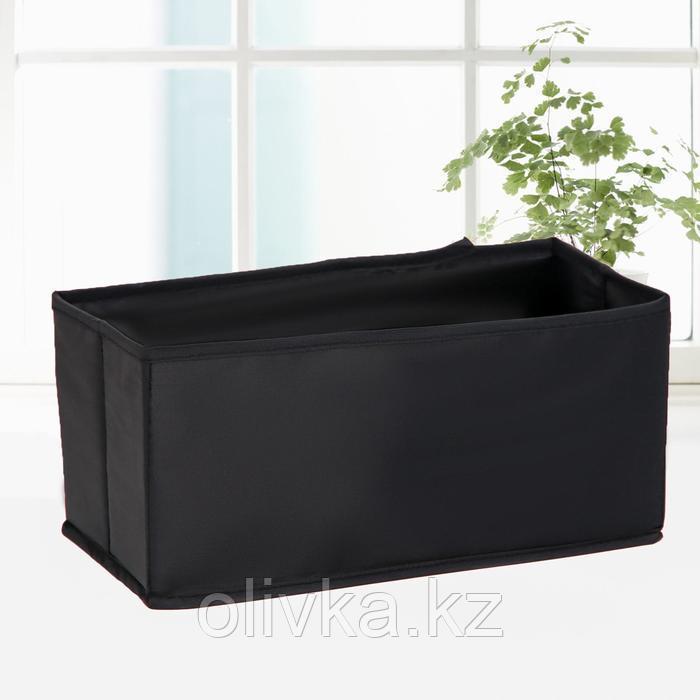 Кофр для хранения «Аморет», 14×28×13 см, оксфорд, цвет чёрный