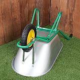 Тачка садово-строительная, одноколёсная: груз/п 160 кг, объём 90 л, пневмоколесо 360 мм, кузов 0,7 мм, фото 3