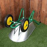 Тачка садово-строительная, двухколёсная: груз/п 180 кг, объём 90 л, пневмоколесо 360 мм, кузов 0,7 мм, фото 3