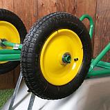 Тачка садово-строительная, двухколёсная: груз/п 180 кг, объём 90 л, пневмоколесо 360 мм, кузов 0,7 мм, фото 5