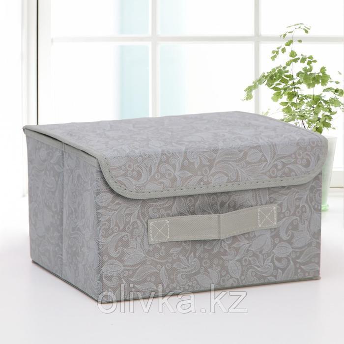 Короб для хранения с крышкой «Нея», 26×20×16 см, цвет серый