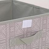 Короб для хранения с крышкой «Этника», 30×28×15 см, цвет серый, фото 3