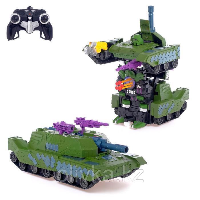 Робот-трансформер радиоуправляемый «Танк», с аккумулятором, масштаб 1:10, цвет зелёный