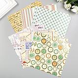 """Цветная WASHI-бумага д/декора """"ВИНТАЖ"""",15х15 см набор 12 листов, 6 дизайнов, рисовая бумага, фото 3"""