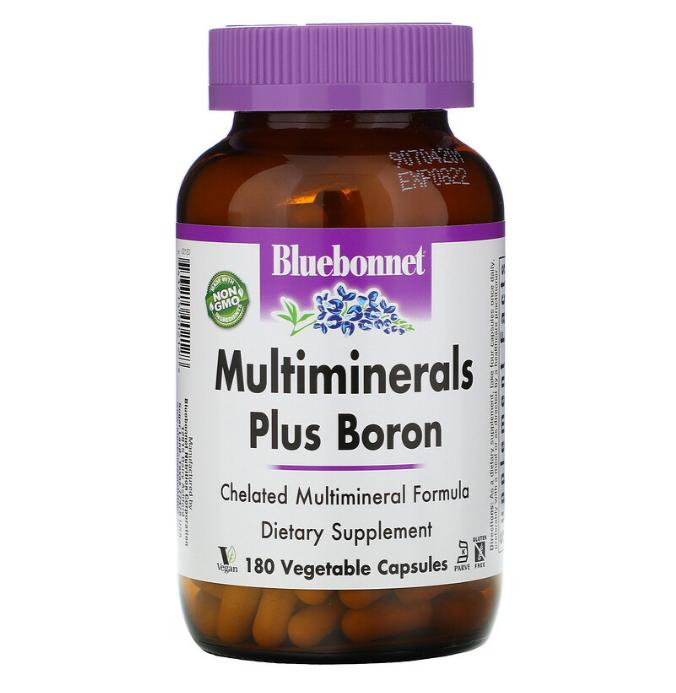Bluebonnet Nutrition, Multiminerals, с бором, 180 растительных капсул Vcaps