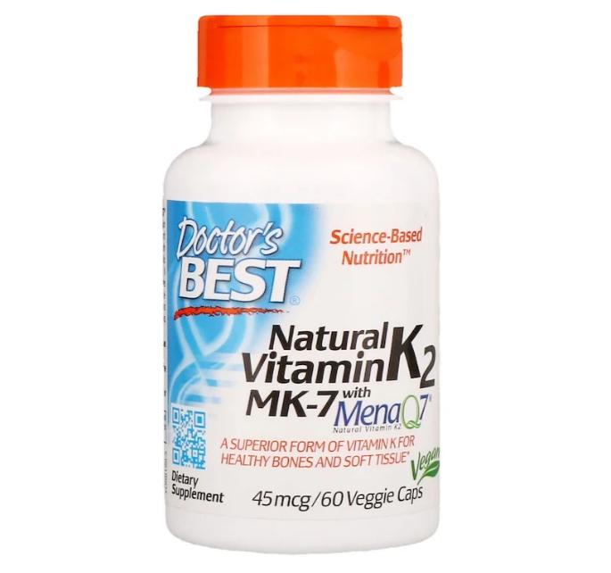 Doctor's Best, Натуральный витамин K2 MK-7 с MenaQ7, 45 мкг, 60 растительных капсул