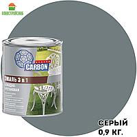 Грунт-эмаль по ржавчине 3 в 1 CARBON серый RAL 7040 0,9кг