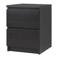 Тумба прикроватная МАЛЬМ с 2 ящиками черно-коричневый ИКЕА, IKEA