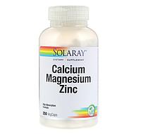 Solaray, Кальций, Магний, Цинк, 250 вегетарианских капсул