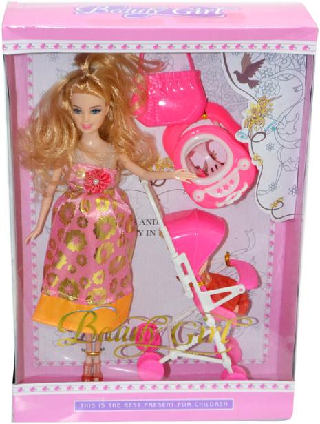 823 Кукла беременная с ребенком и коляской