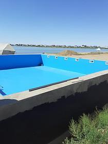 Облицовка бассейнов ПВХ лайнером Haogenplast blue 8283 включая монтаж фильтрационного оборудования Poolking, г.Кульсары 1