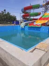 Облицовка бассейнов ПВХ лайнером Haogenplast blue 8283 включая монтаж фильтрационного оборудования Poolking, г.Кульсары 3
