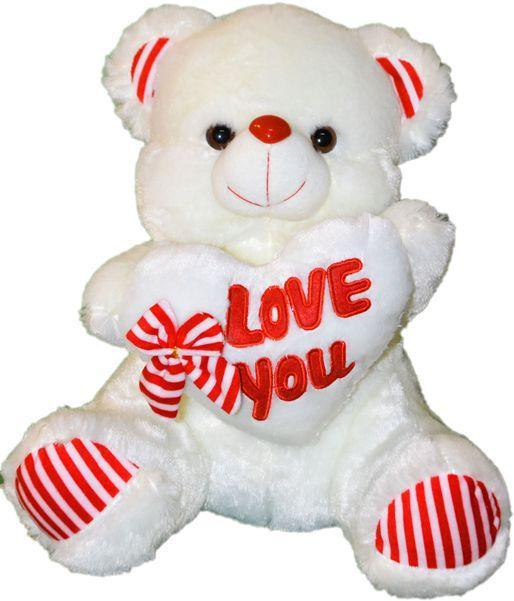 Мишка с сердцем I LOVE YOU и бант - 36см