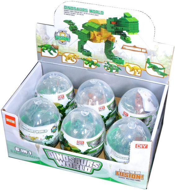 707 Динозавр конструктор в яйце 6 видов из 6 шт цена за 1 шт 8*6см