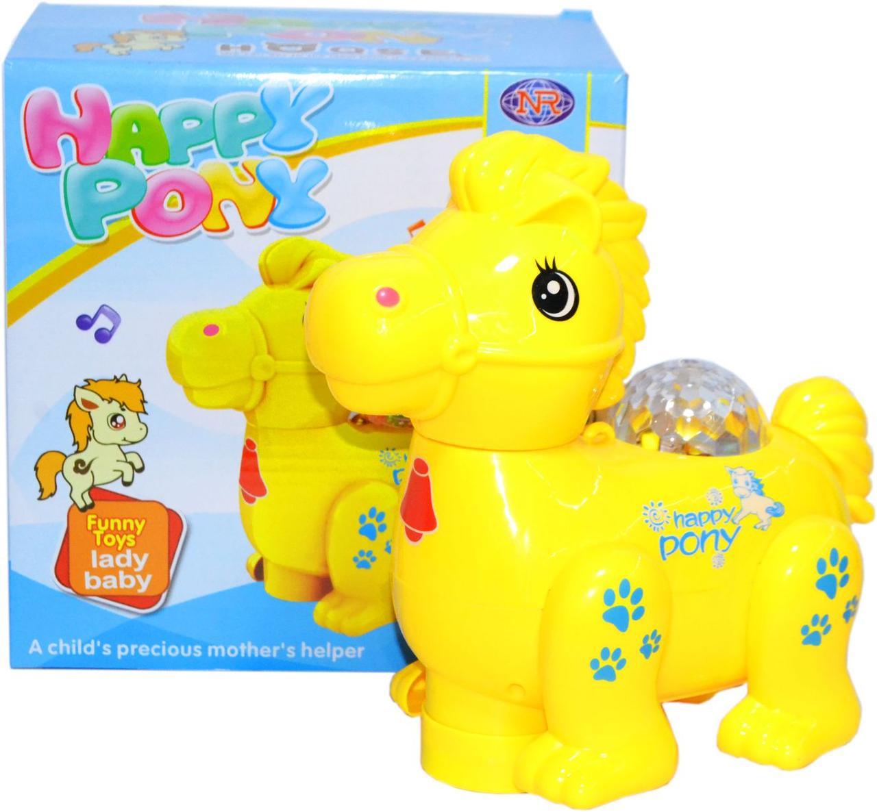 617-55 Happy Pony Пони лошадка (ездеет,свет,музыка) 19*18см