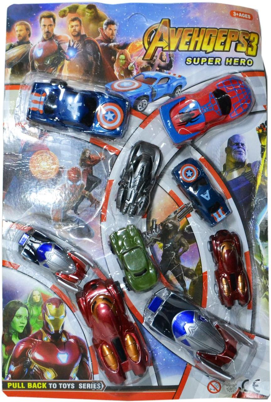 "546-115B Машины ""Мстители"" 9шт на картонке Super Hero Avengers 3 43*23см"