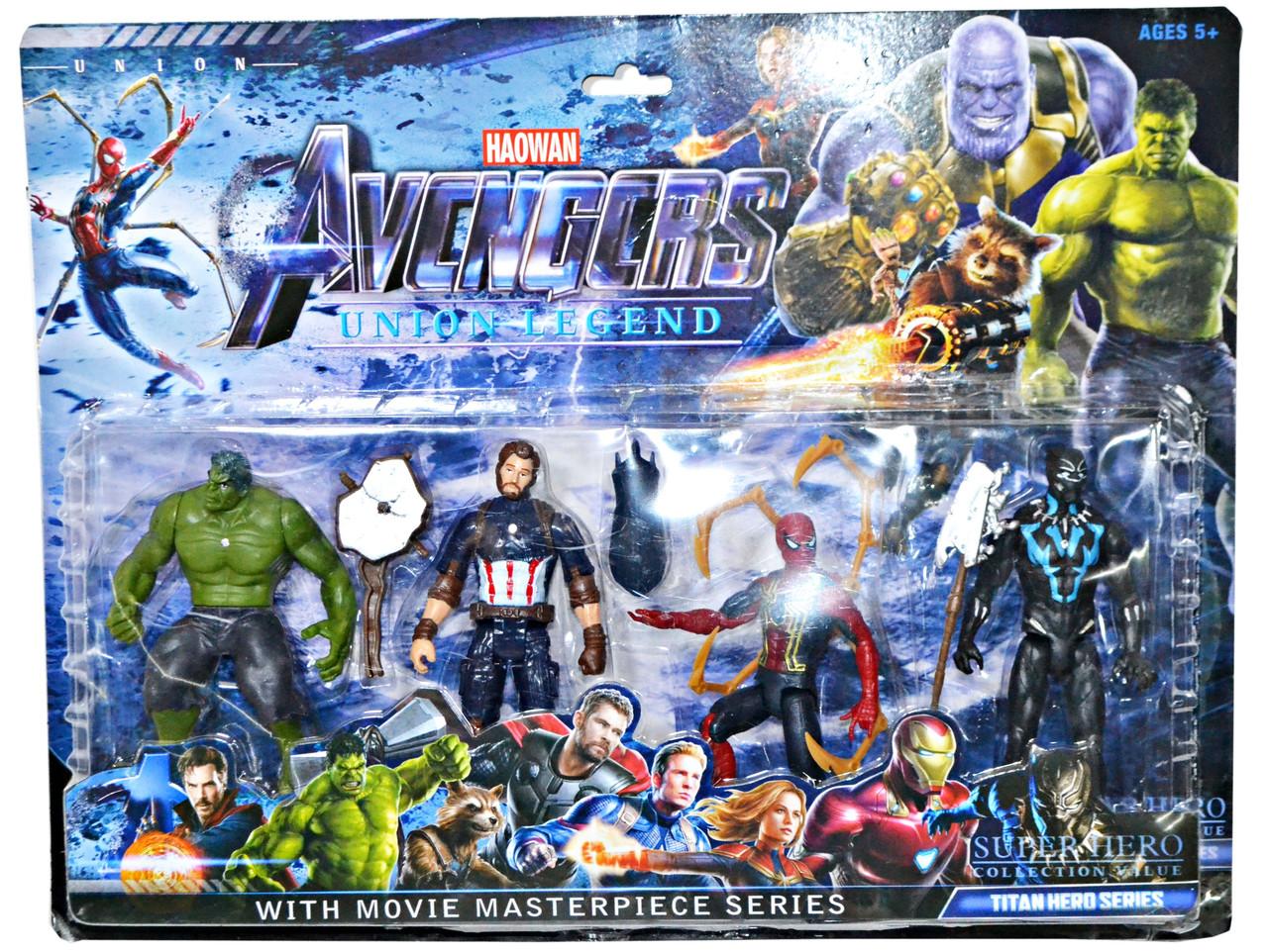 89007 Мстители 4 герои с оружием  на картонке 45*35см