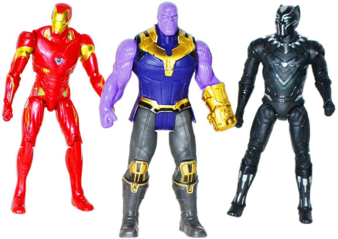 W17A/B Мстители фигурки героев 3шт в пакете, 2 вида, сгибаются ноги 25*26см