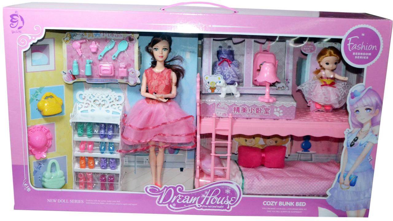 YSN584 Спальня с мебелью и куклами 64*36см