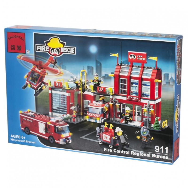 911  Пожарная станция конструктор FIRE RESCUE  908деталей 54*37см