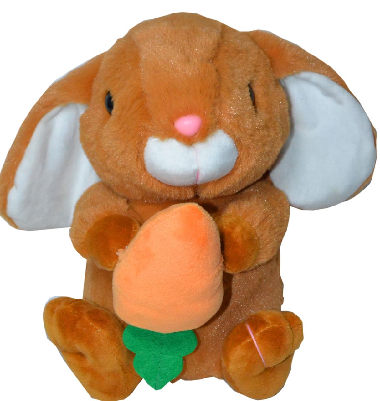 Заяц сидячий с морковкой (длинные ушки вниз) 21см