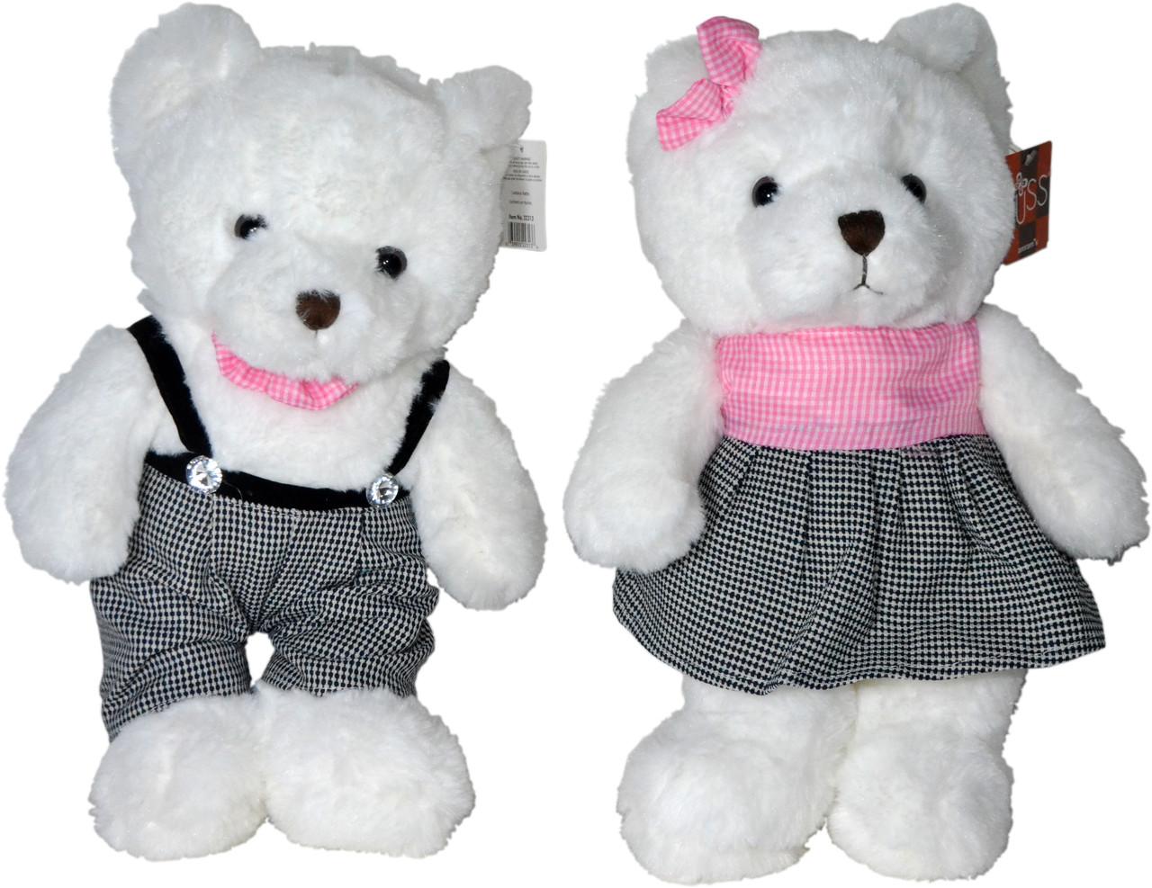 Мишка белый 37см мальчик(штаны клетка)девочка(платье клетка)