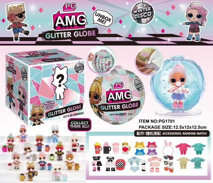 НОВИНКА!!! Pg1701 Amg Glitter Globe Winter Disco Лол в шаре 8 сюрпризов